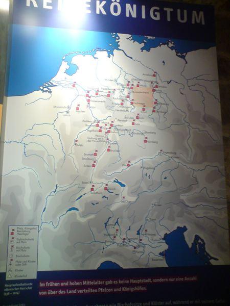 Karte ottonischer Pfalzen, auch Trebur ist darauf abgebildet